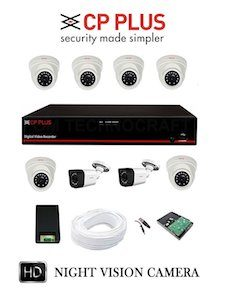 CP PLUS 8 HD CCTV Cameras and 8Ch. HD DVR Kit with 2 TB Hard Disk all Accessories
