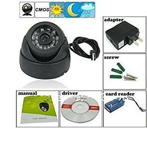 Finicky World CCTV Dome 24 IR Night Vision Camera DVR with Memory Card Slot Recording