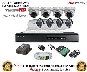 HIKVISION 8CH- DS-7208HGHI-E1-Turbo-HD-720P-DVR + HIKVISION TURBO DOME BULLET CAMERA 8pcs + 1TB HDD + CABLE 3+1 COPPER + POWER SUPPLY (FULL COMBO)