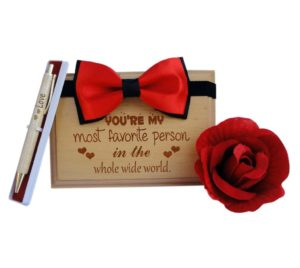tiedribbons-valentines-day-gifts-for-couple-wooden-engraved-plank5-inch-x-7-inch-with-artificial-red-rose-and-tiebow-and-wooden-pen