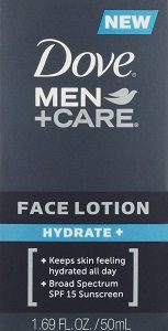 Dove Men Care Face Lotion Hydrate, 1.69 Oz with with Broad Spectrum SPF 15