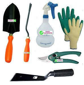 Easy Gardening - Essential tools - Trowel Big, Weeder, 2 Khurpi, Trigger Sprayer, Knit Gloves & Pruning Shear