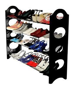 Inovera Convertible 4 Tier Stack-able Black Shoe Rack Organizer