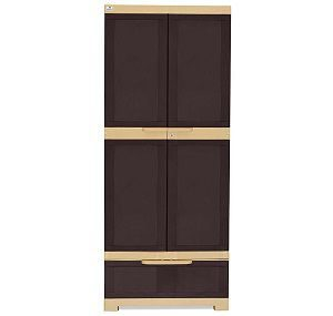 Nilkamal Freedom Cabinet with 1 Drawer (Weather Brown and Biscuit) - Copy
