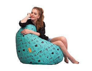 ORKA Digital Printed Bean Bag XXL (Filled With Beans) - Green & Black