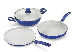Prestige Marble Induction Base Non- Stick Aluminium Kadai Set
