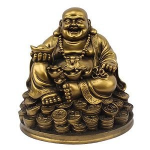 Rudraksha Fengshui Laughing Buddha Sitting on Luck Money Coins