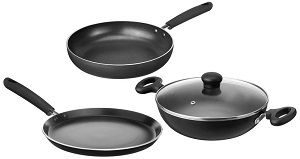 Solimo Non-Stick 3- Piece Kitchen Set (Induction & Gas compatible)