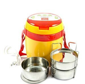 Milton Futron Electric Tiffin 3 Containers, Yellow-Red Colour