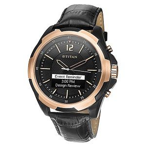Titan Juxt rose gold 90055KL01J Smartwatch (Black Strap)