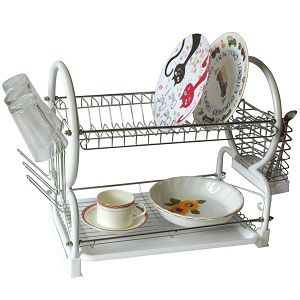 Kawachi Stainless Steel Chrome 2 Tier Dish Drainer Rack