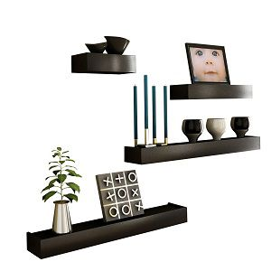 Artesia Black Wooden Wall Shelf Set Of Four/ Display Rack Shelf