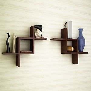 Artesia Brown Wooden Wall Shelf Set Of Two Wall Shelves