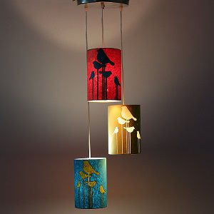 Craftter Abstract Birds Set Of 3 Dark Multicolors Paper Shades Hanging Lamp Fixture