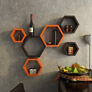 DecorNation Wall Shelf Rack Set of 6 Hexagon Shape Storage Wall Shelves for Home - Orange and Brown