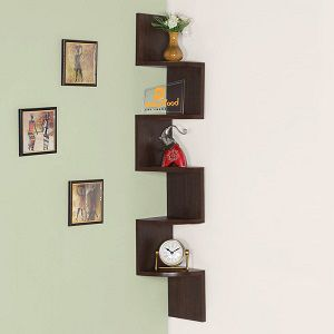 Driftingwood Wall Shelf Zigzag Corner Shelf Wall Shelves - Brown Laminated