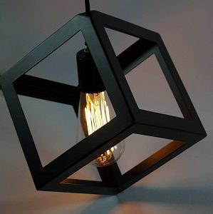 Edison Filament Hanging Cube, E27 Holder, Decorative, Black color, URBAN Retro, Nordic style