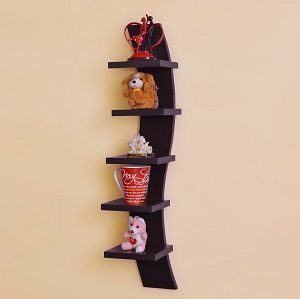 GrayWood Curve Shape 5 tier Wall Shelves in Finishing