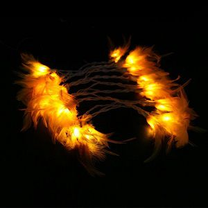 Quace 20 Pcs Feather String Light Battery Powered