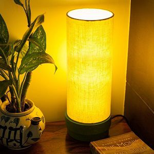 Exclusivelane 14 Inch Wooden Table Lamp In Green Home Decorative Night Lamp for Living Room
