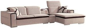 Afydecor Three Seater L shape Sectional Sofa with Mini Attached Table