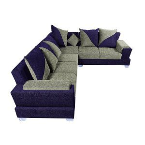 Lifestyle Solutions Zikras Purple Sal Wood 6 Seater L Shaped Sofa Set For Living Room