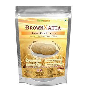 NutroActive BrownXatta (Brown Atta) 900 gm, Low Carb Flour, Multigrain Atta for Slimming