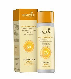 Biotique Bio Sandalwood Sunscreen Ultra Soothing Face Lotion, SPF 50+