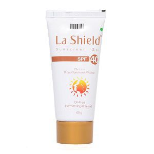 Glenmark La Shield Sunscreen Gel SPF 40, PA+++, Broad-Spectrum UVA/UVB Oil Free and Dermatologist Tested